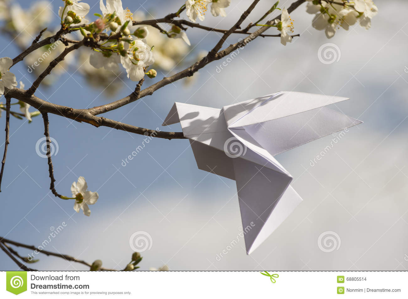 Origami Dove On Blooming Spring Tree Stock Photo - Image ... - photo#39