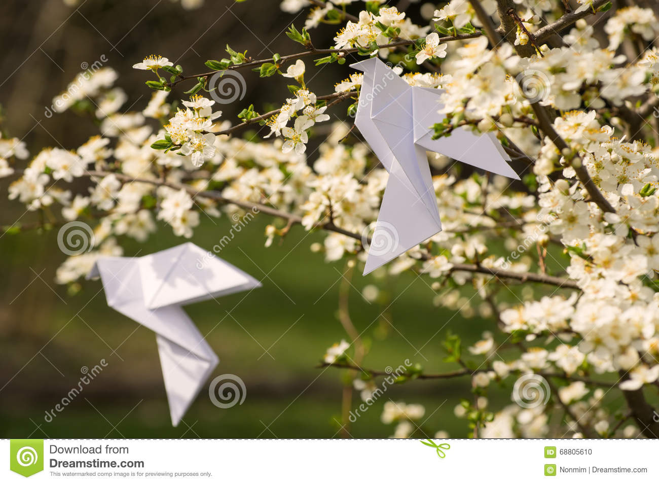 Origami Dove On Blooming Spring Tree Stock Photo - Image ... - photo#48