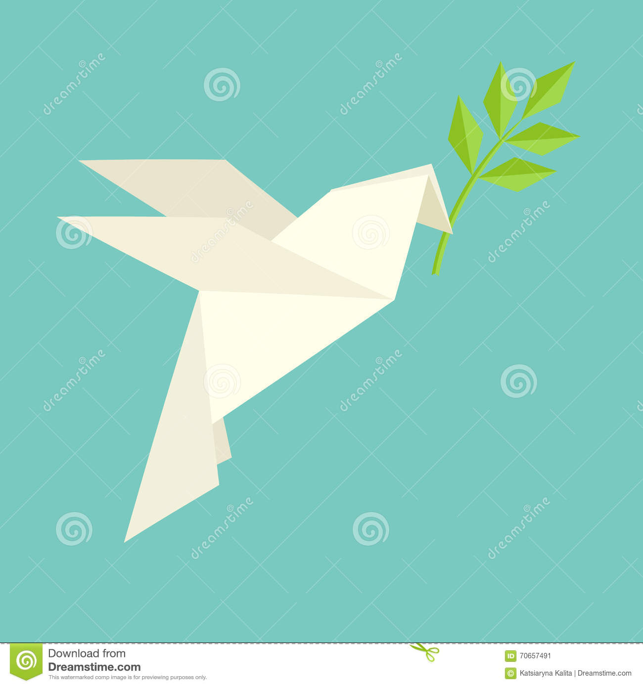 Origami Dove Flies And Carries A Twig Stock Vector - Image ... - photo#14
