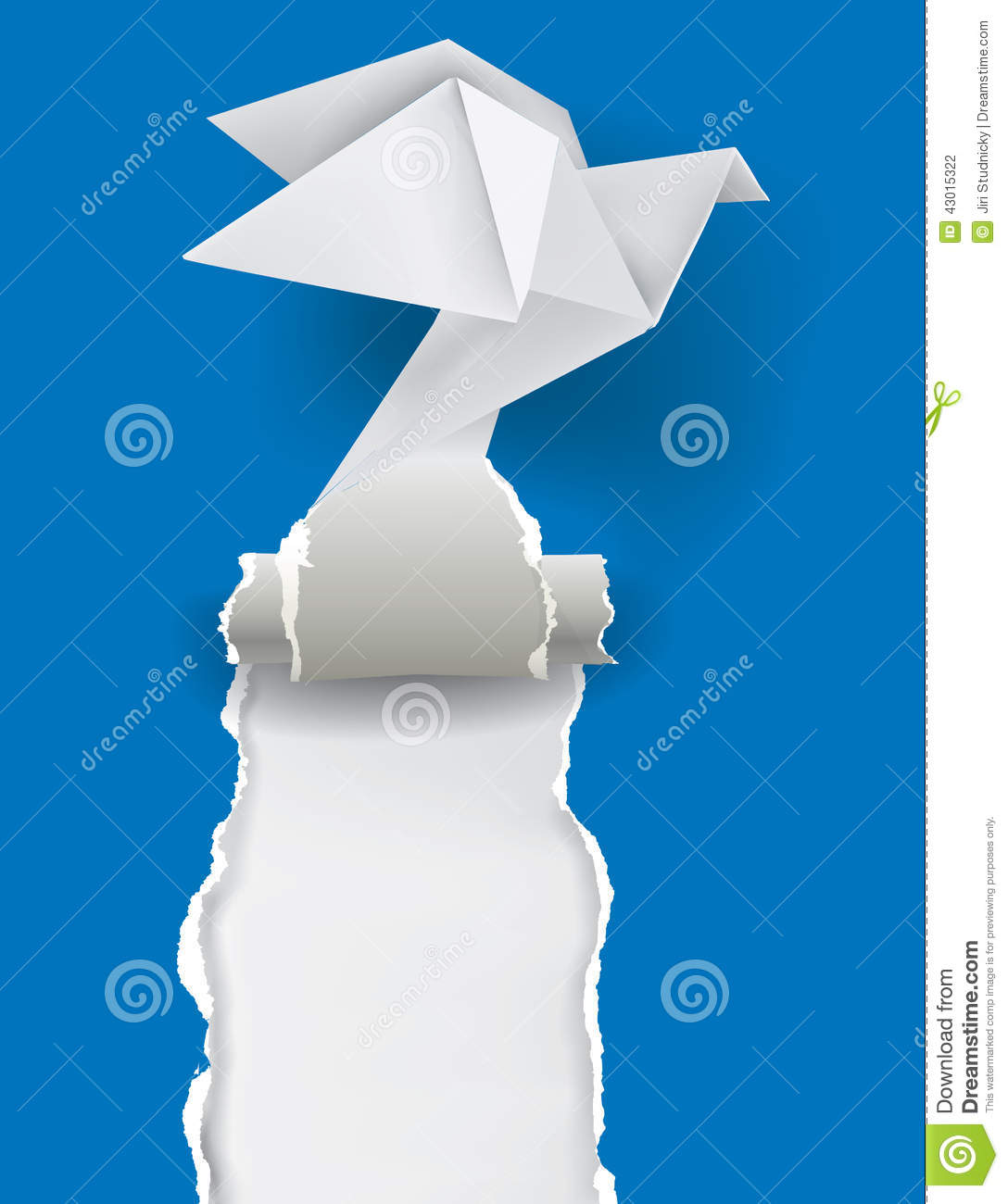 Origami Dove Ripping Blue Paper Stock Vector - Image: 43015322 - photo#12