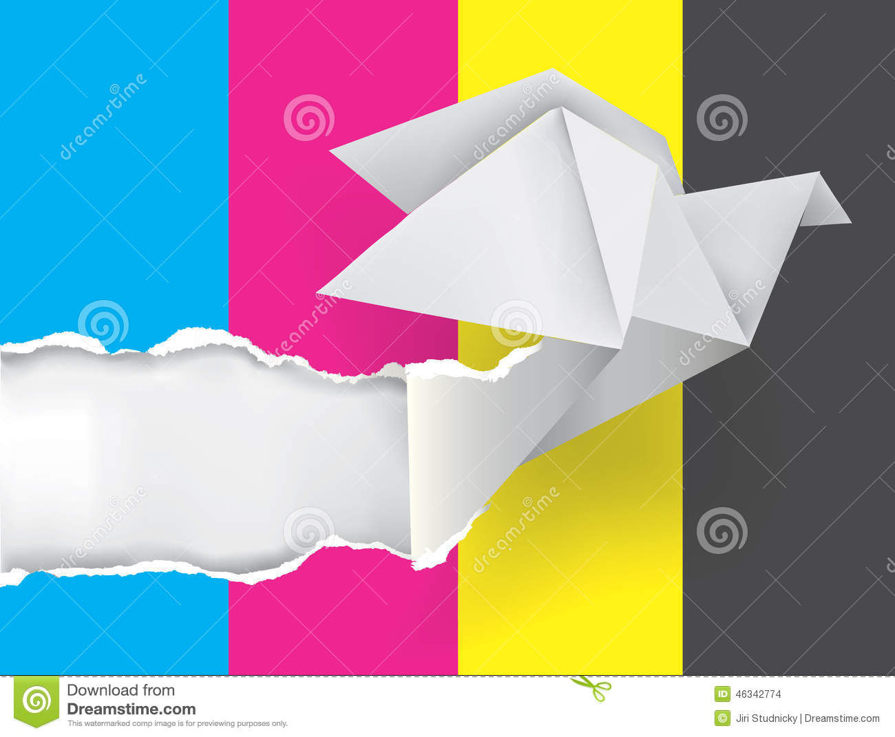 Origami Dove Ripping Paper With Print Colors Stock Vector