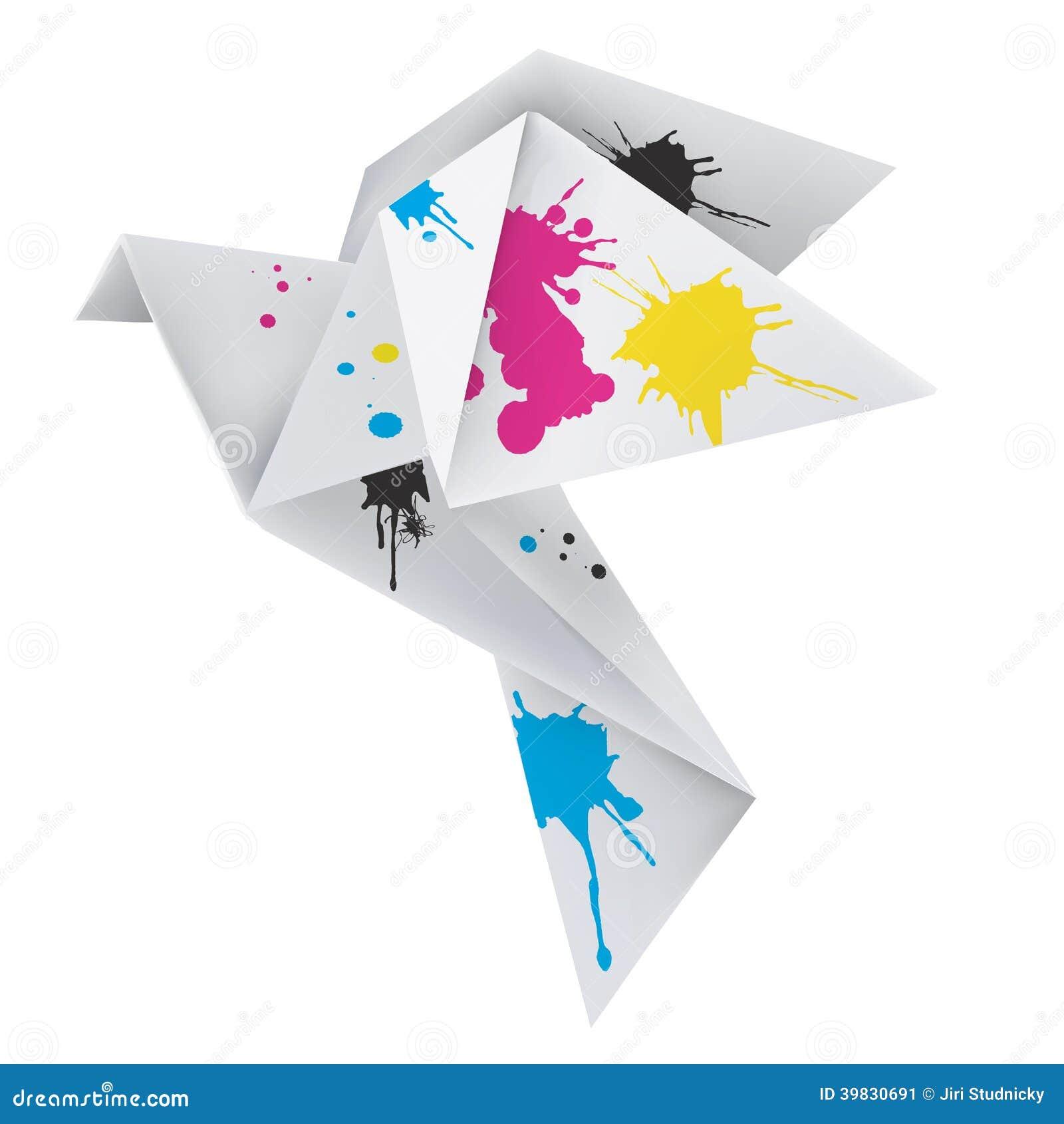 Origami Dove With Splashes Of Ink Stock Photo - Image ... - photo#24
