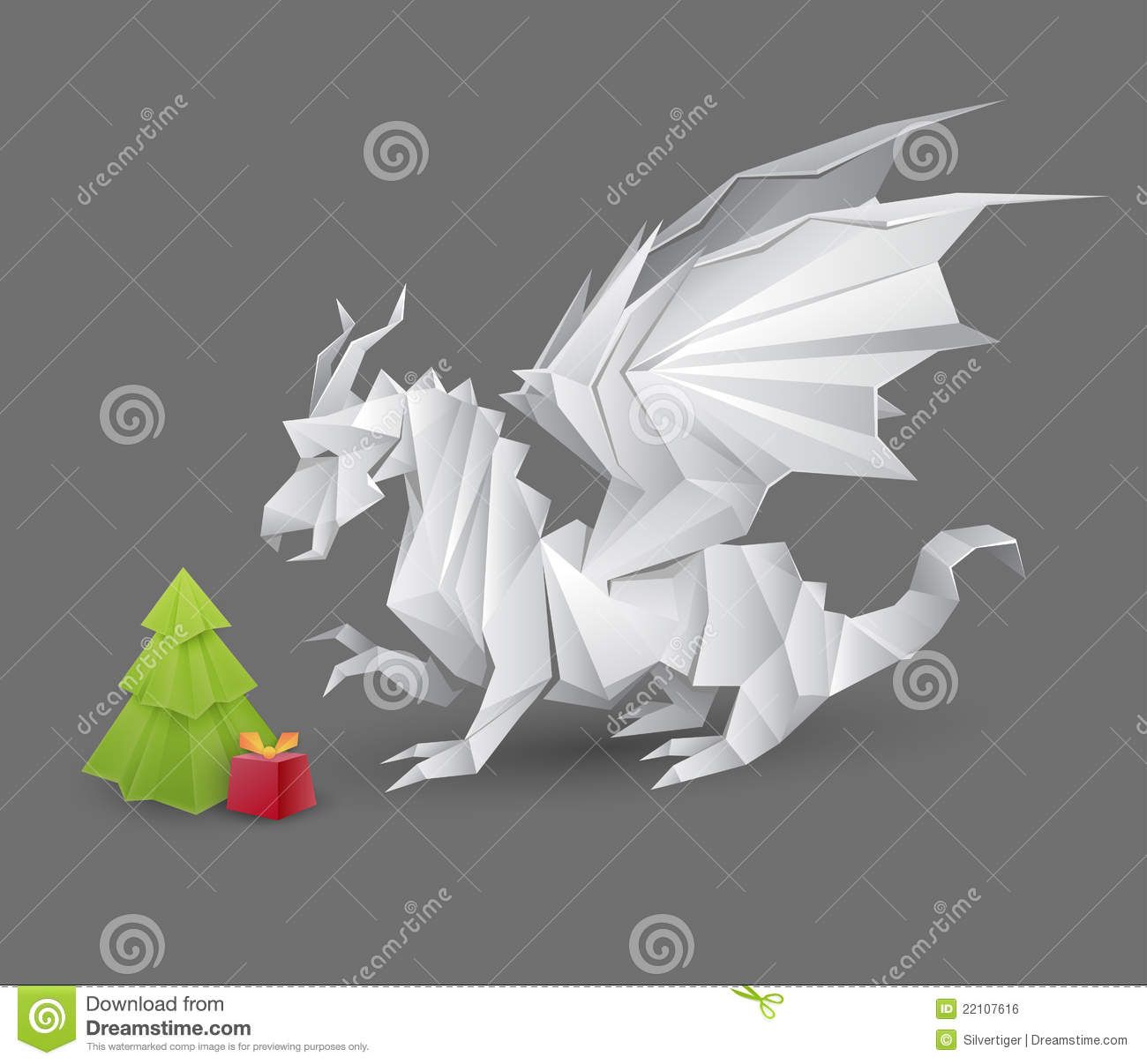 Origami Dragon And A Christmas Tree