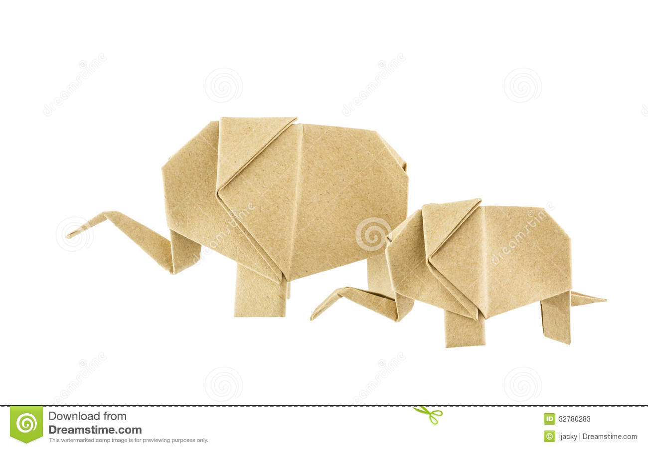 origami elephant and baby elephant recycle paper stock