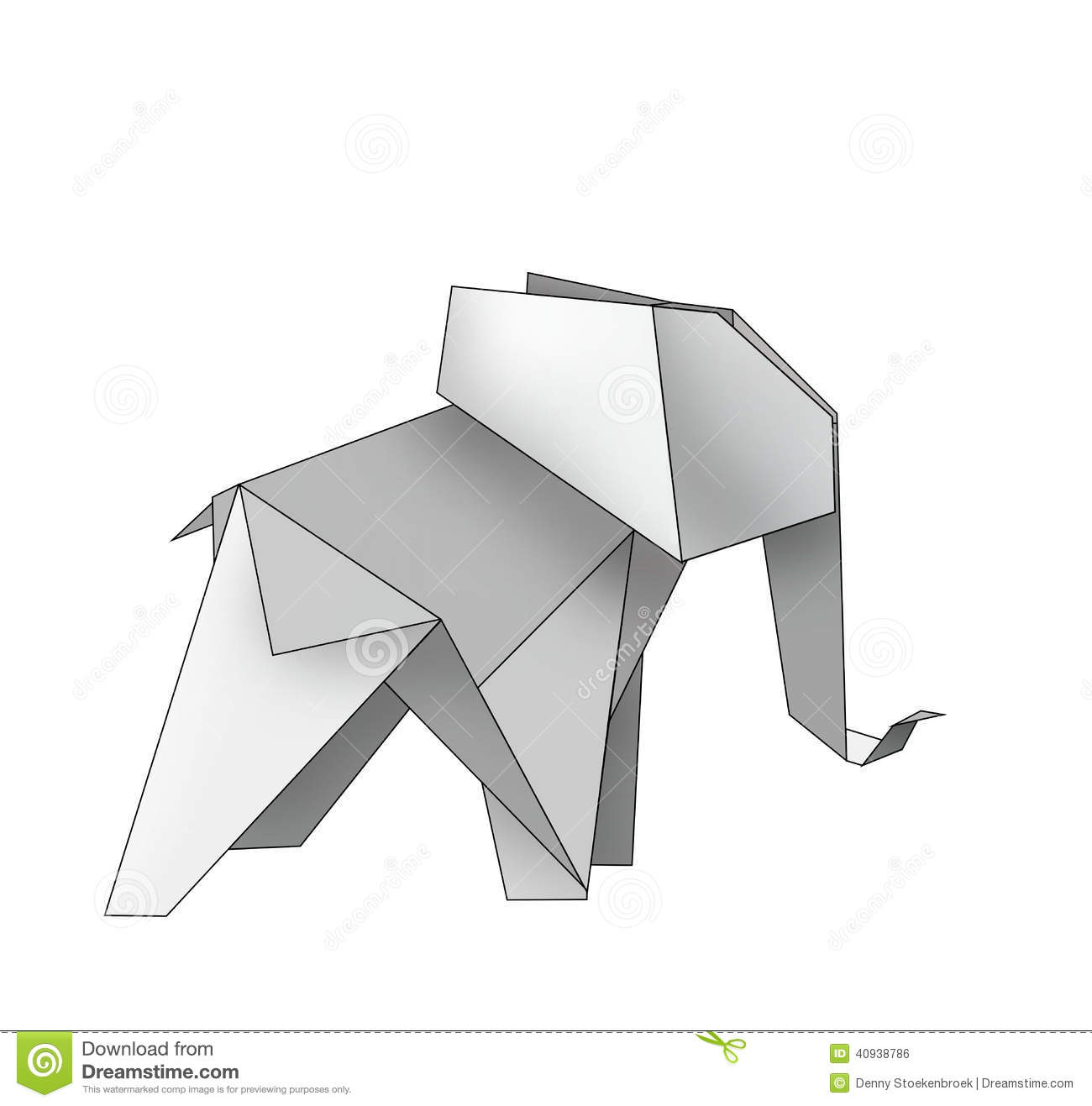 Origami Elephant Stock Illustration - Image: 40938786