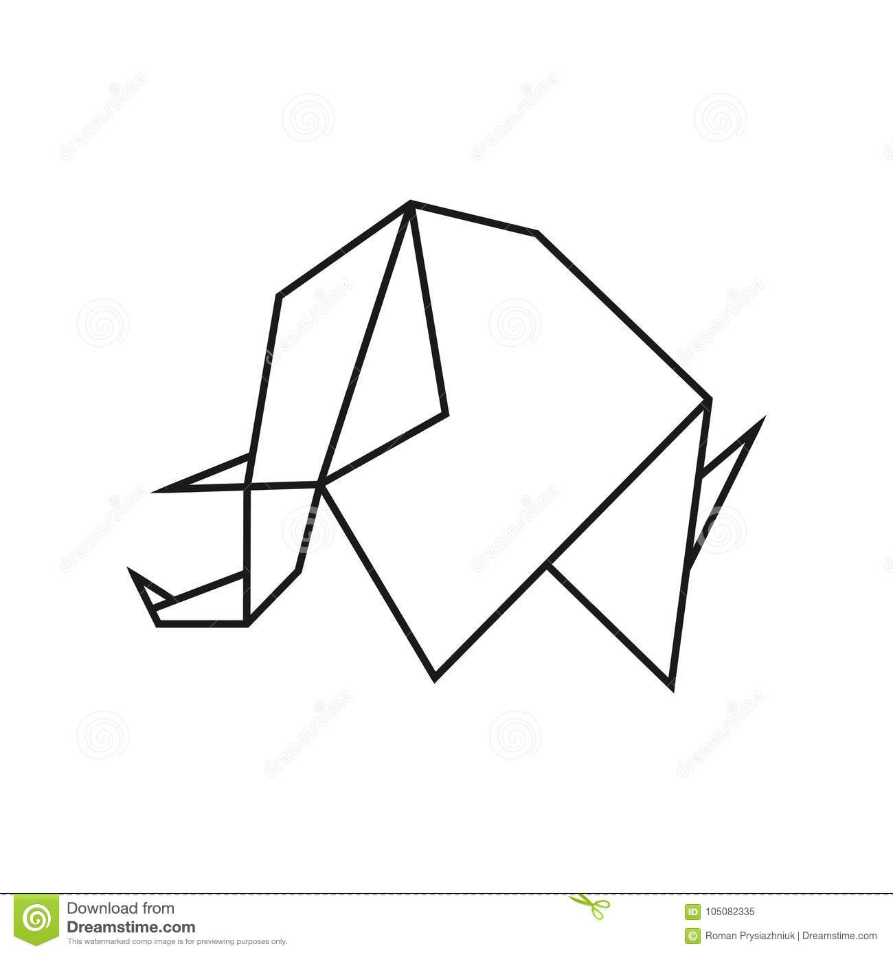 Download Origami Elephant Geometric Line Shape For Art Of Folded Paper Logo Template