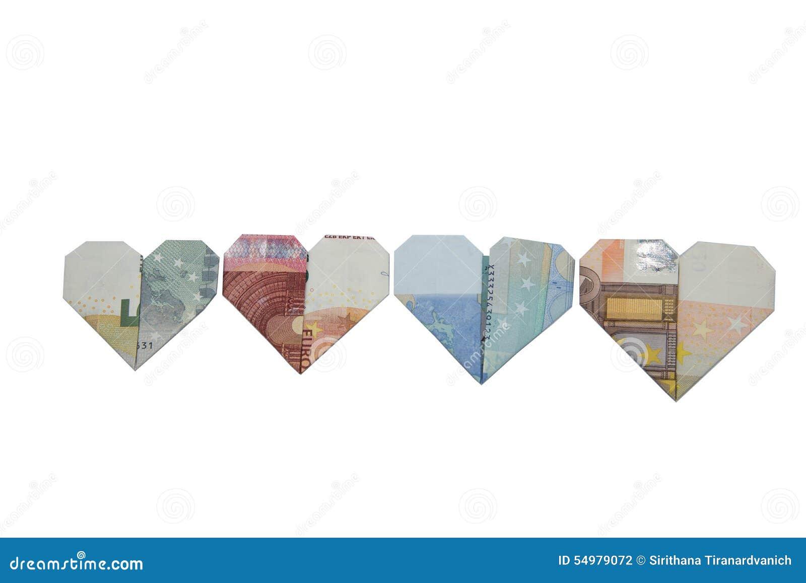Origami för eurosedelhjärta