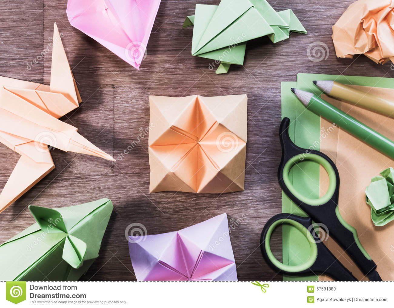 Origami Figures On Wooden Table Flat Lay High Angle View Stock