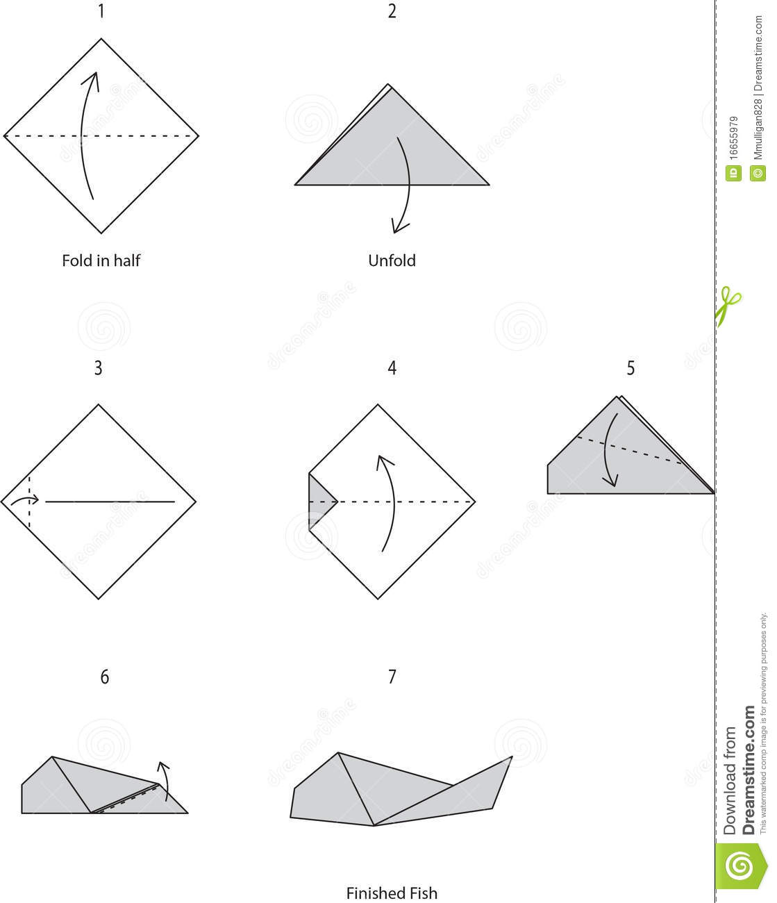 paper folding fish instructions
