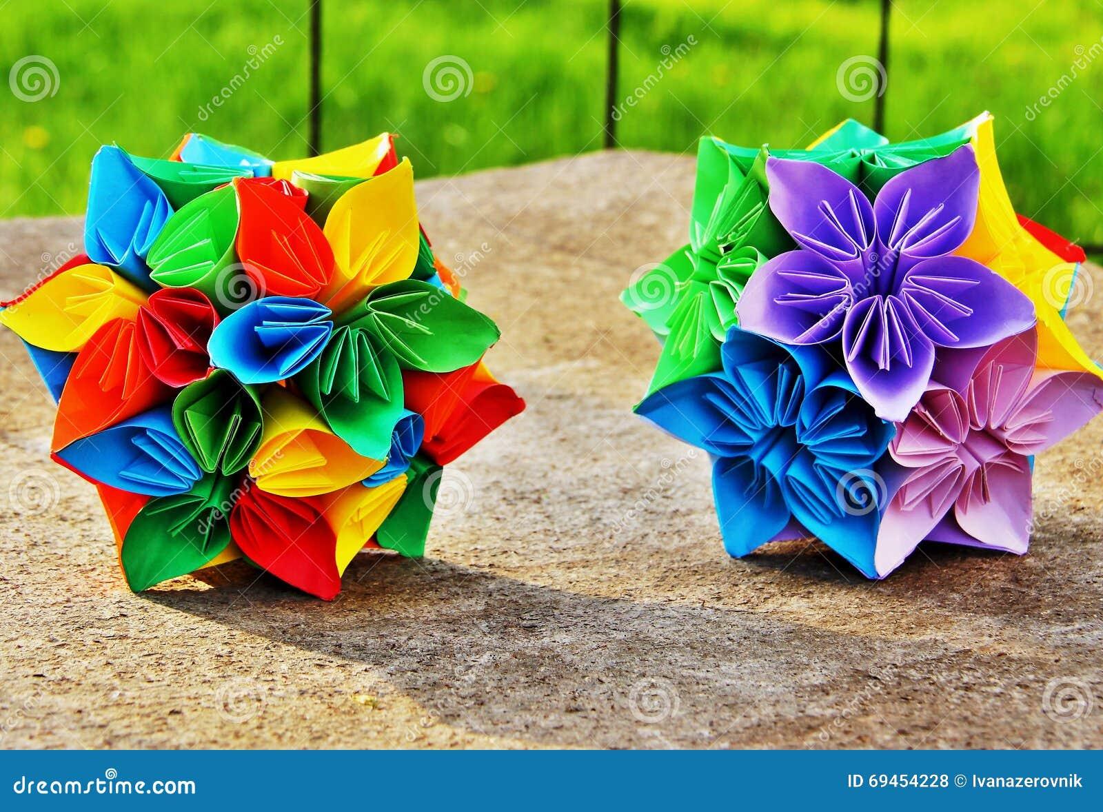 Origami flower balls in vibrant colors stock photo image of origami flower balls in vibrant colors mightylinksfo