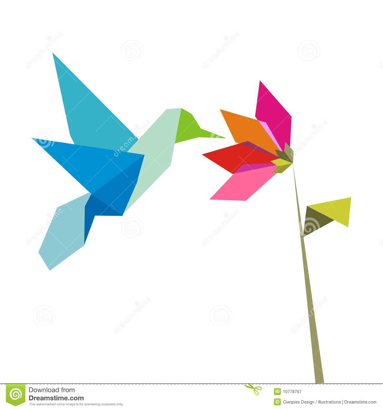 Origami Flower And Hummingbird On White Royalty Free Stock ... - photo#36