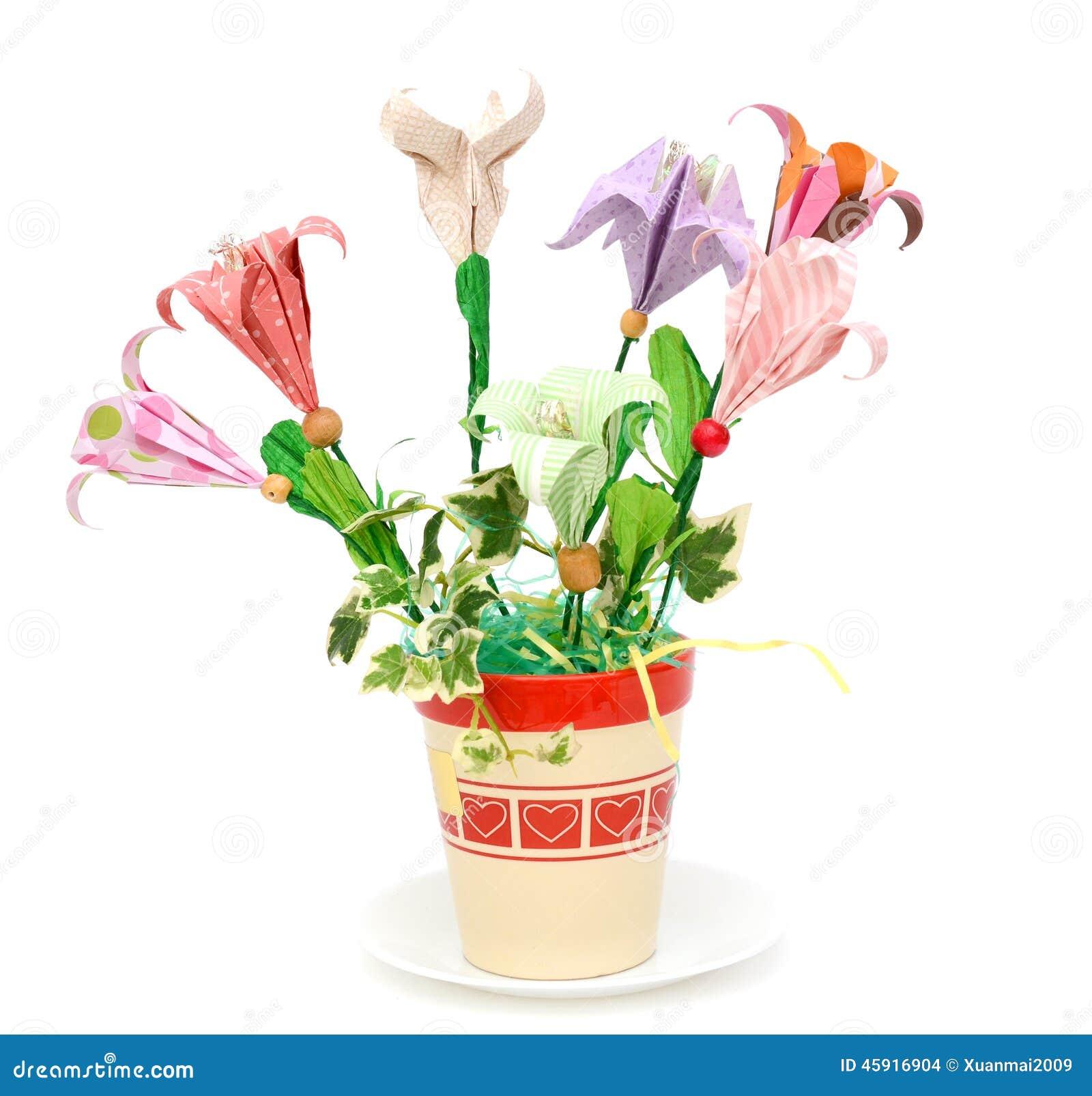 Origami Flowers Pot Stock Photo Image Of Vase Flower 45916904