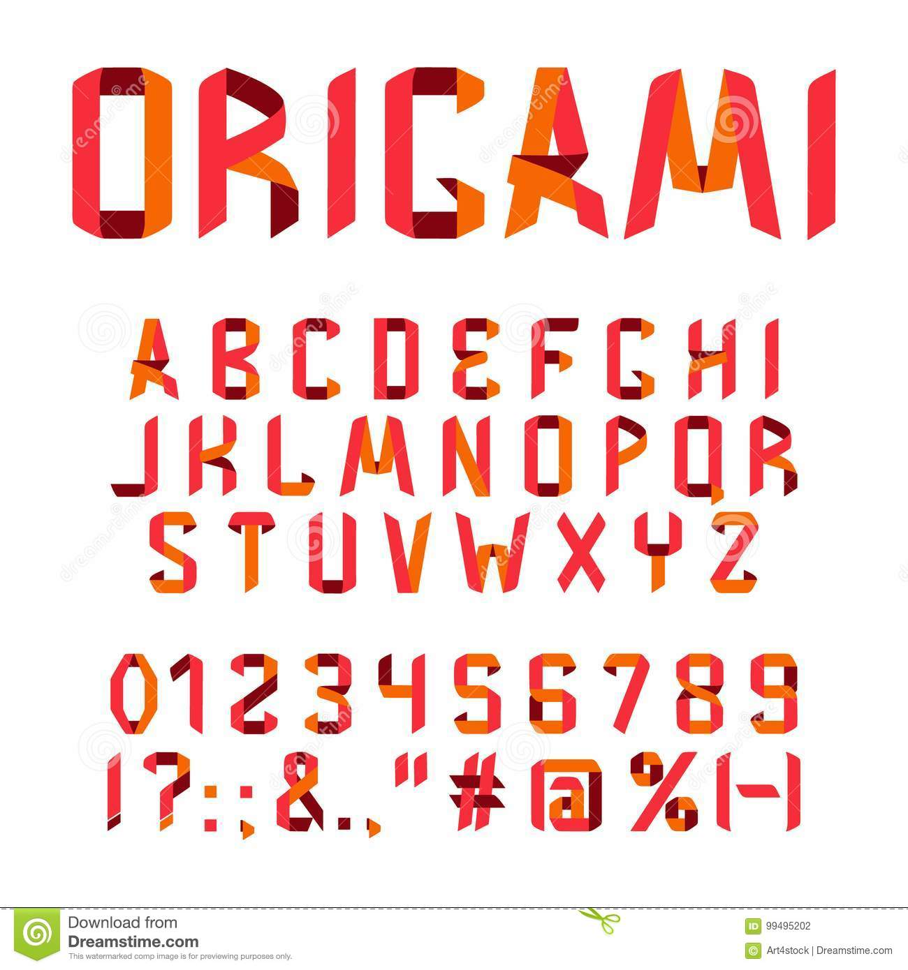 Origami Font Alphabet Royalty Free Vector Download