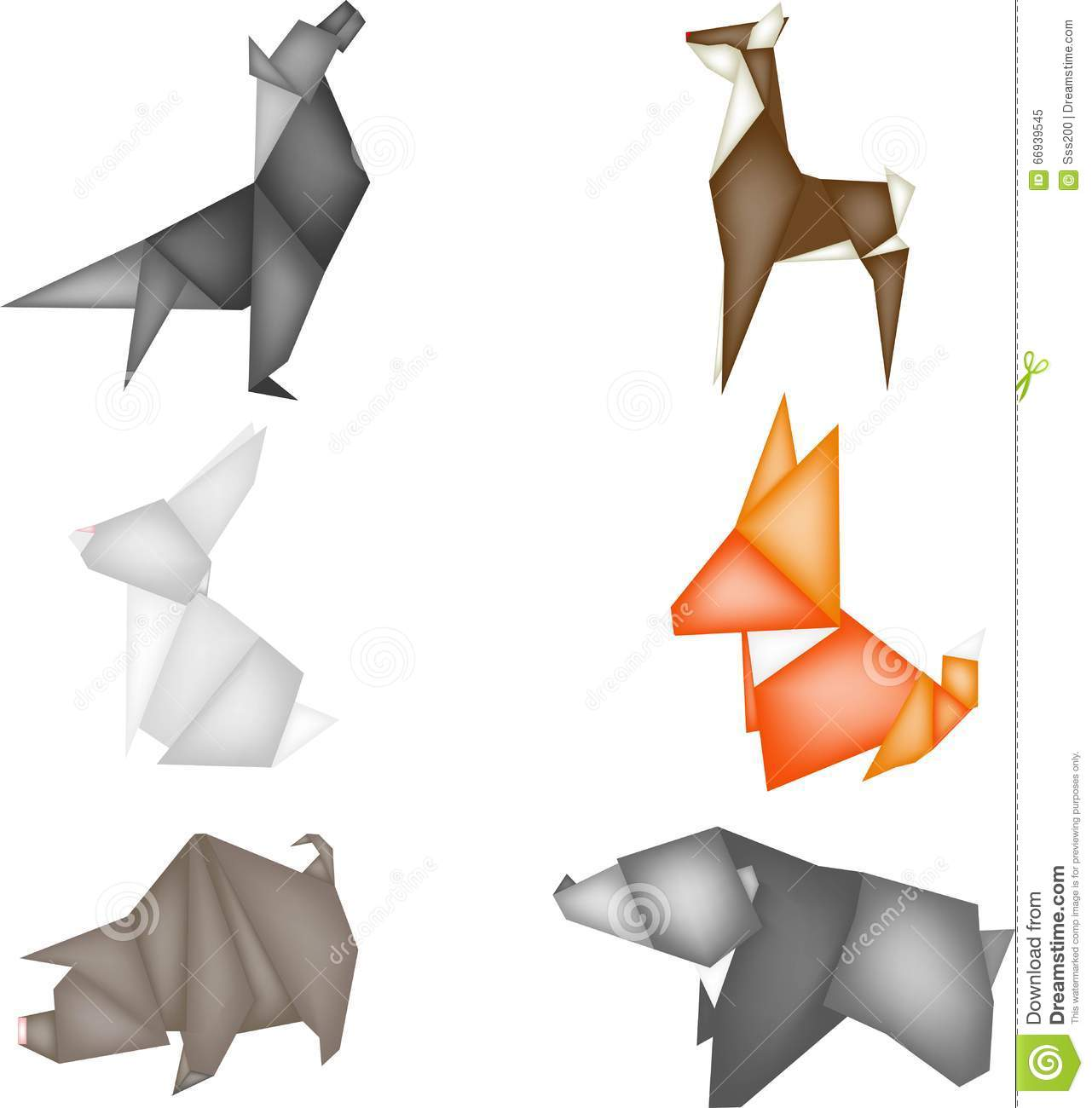 Origami With Forest Animals Figures From Paper A White Hare A Red