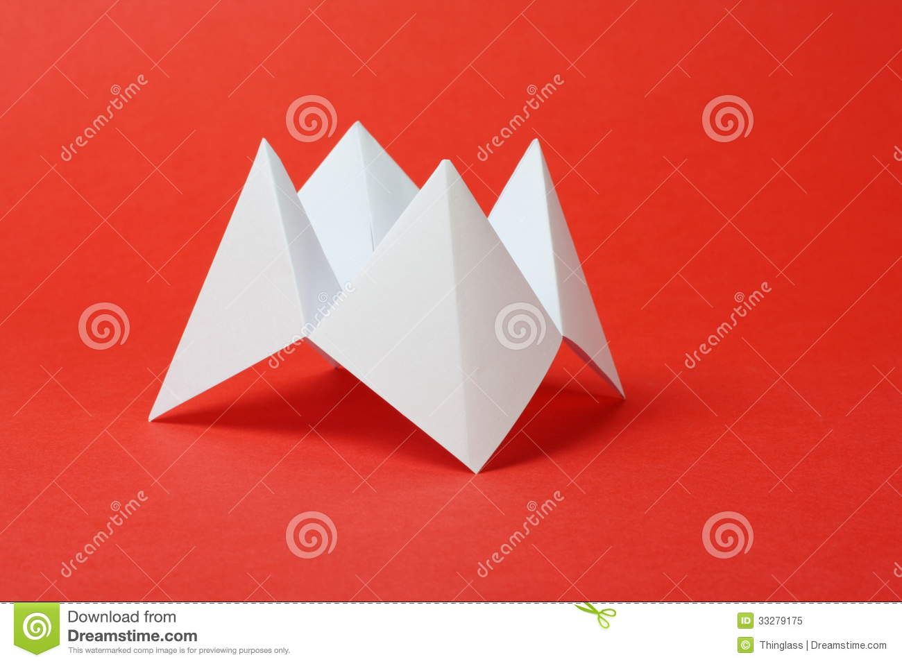 An Origami Fortune Teller Or Cootie Catcher Made From Blank White