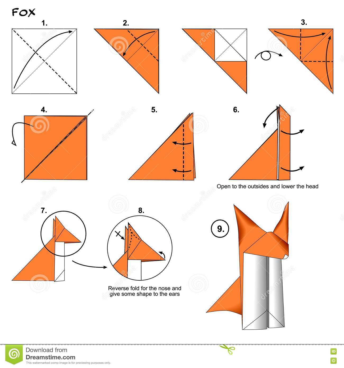 Origami Wolf Step By Sword Diagram Http Wwworigamiguidecom Origamiwolfhtml