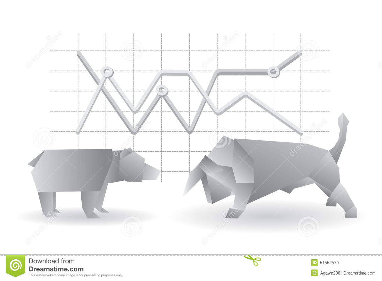 Origami Geometrical Bear And Bull Vector Illustration With Graph Diagram