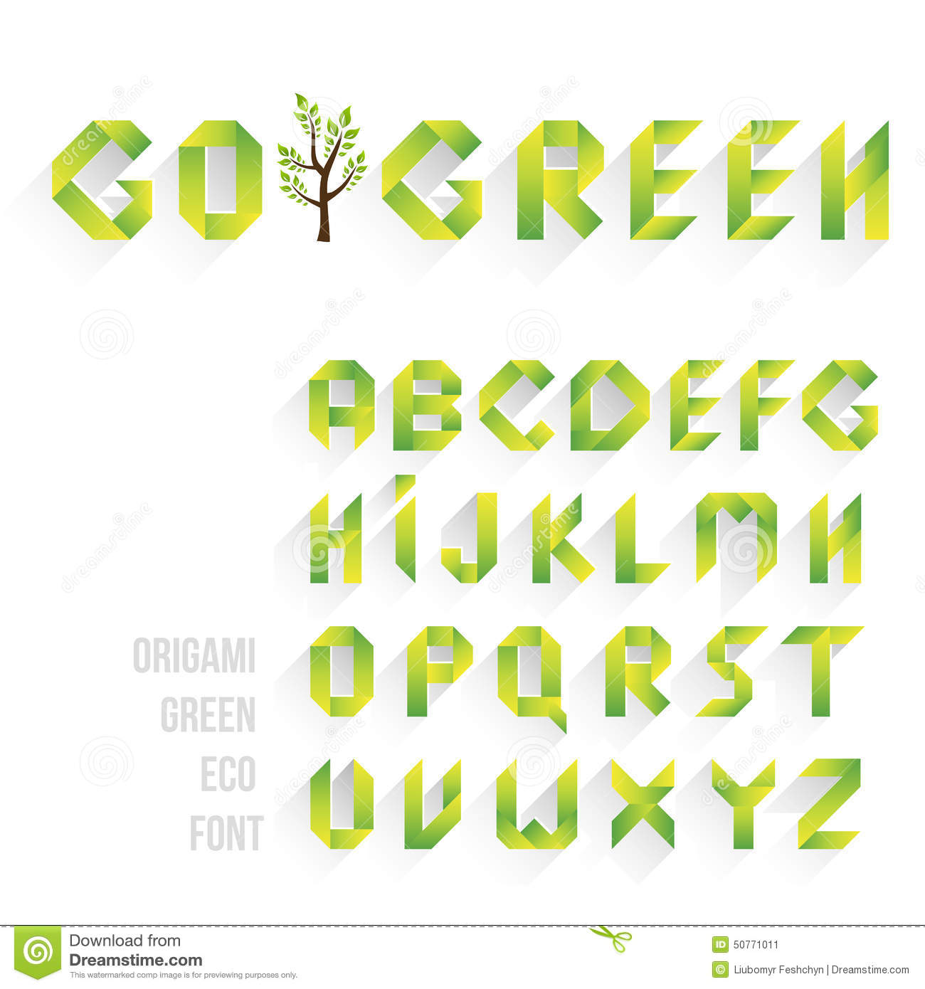 Origami Green Eco Font Alphabet Letters Stock Vector  Illustration