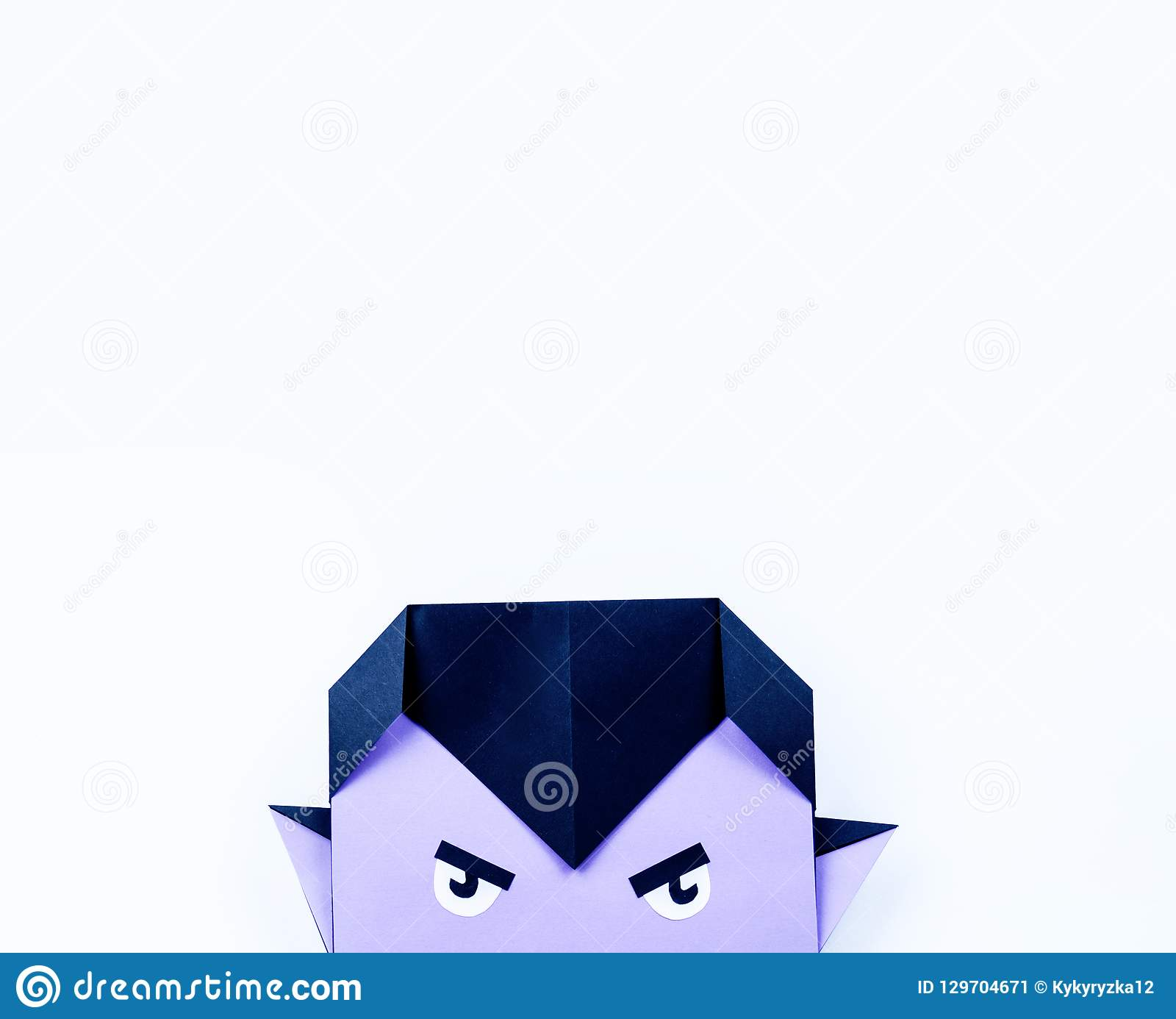 Origami Halloween  Vampire With Purple Skin And Fangs Made