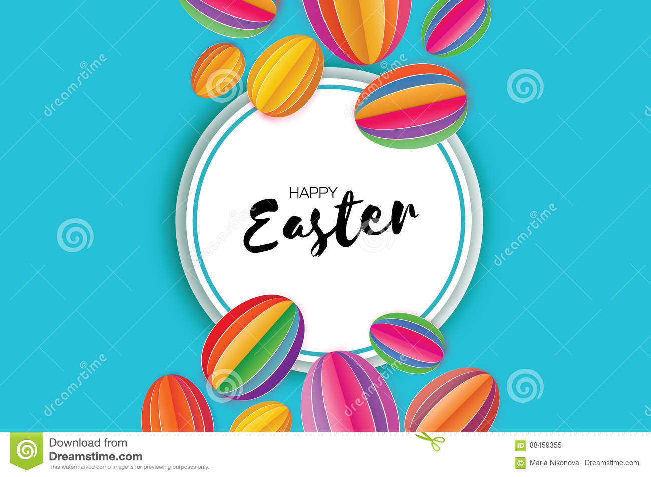 Origami Happy Easter. Colorful Paper Cut Easter Egg