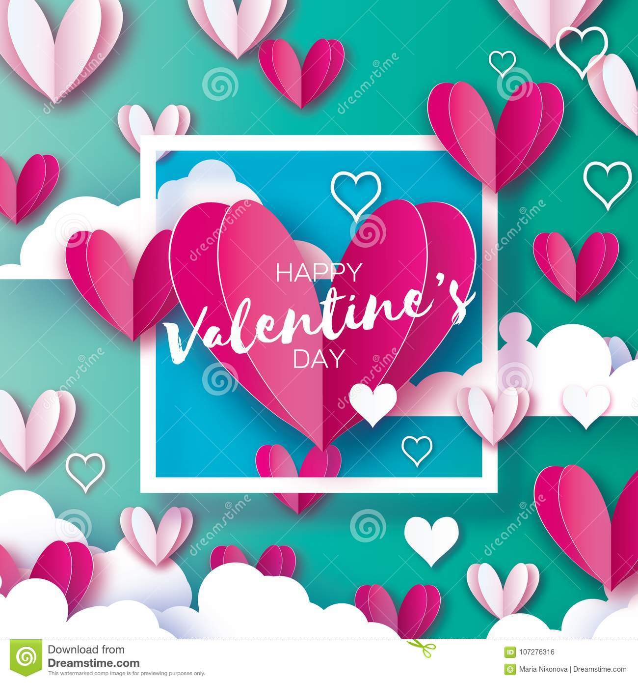 Origami Happy Valentine`s Day Greetings Card. Flying Love White And ...