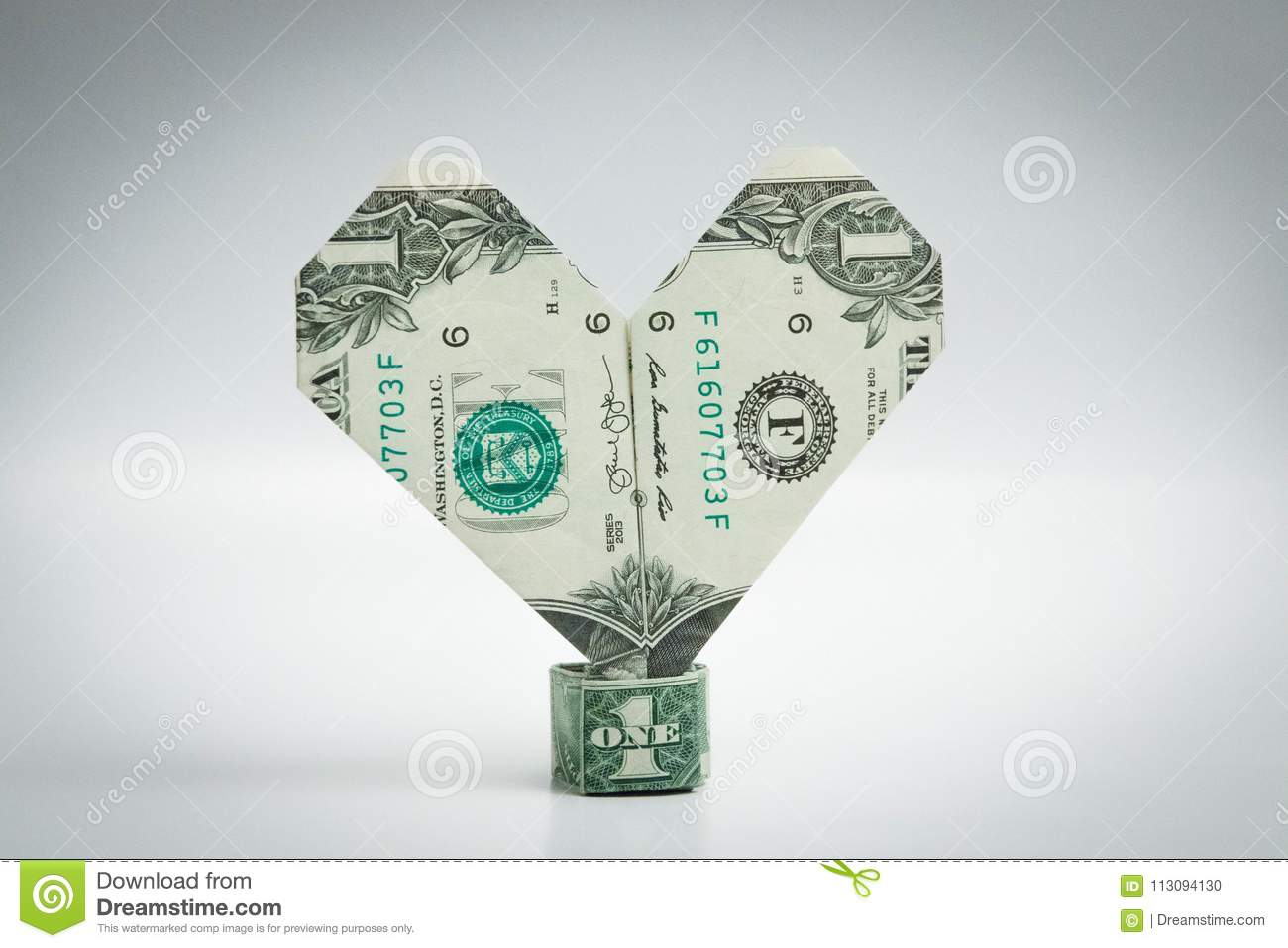 Origami Heart And Ring Dollar Bill One Dollar Stock Photo Image Of
