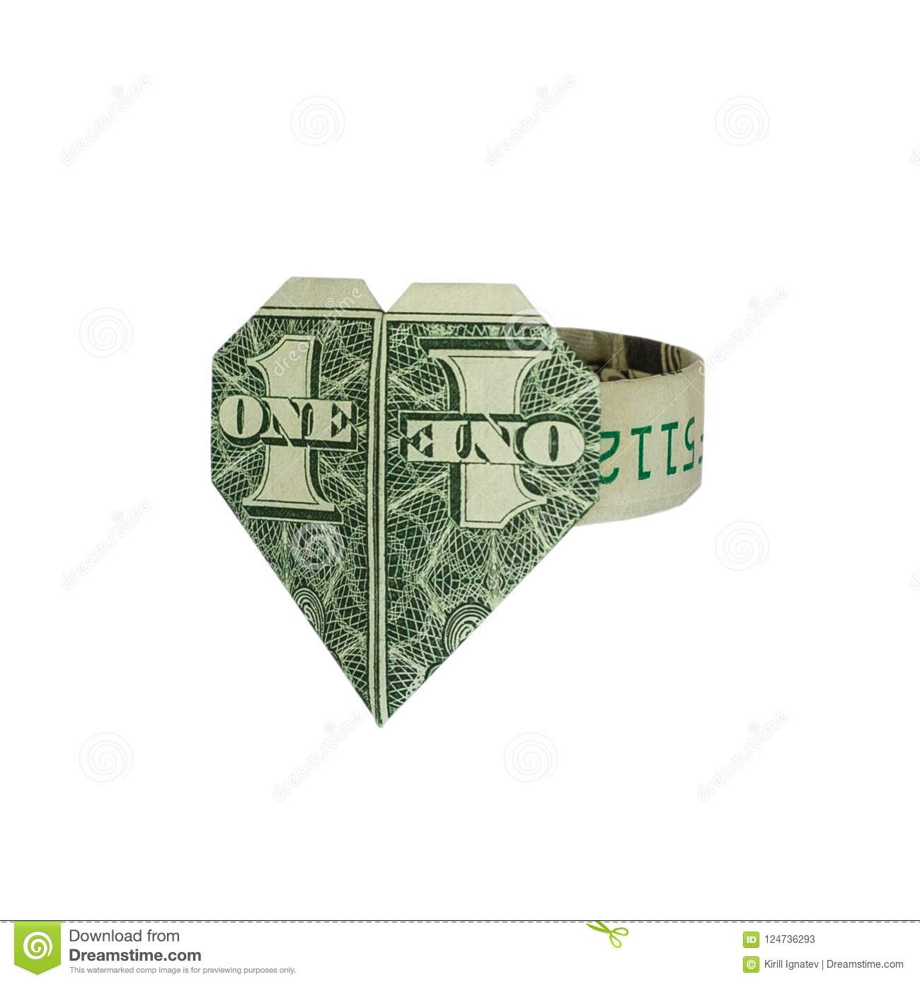 Origami Heart Ring Folded Real One Dollar Bill Stock Image Image