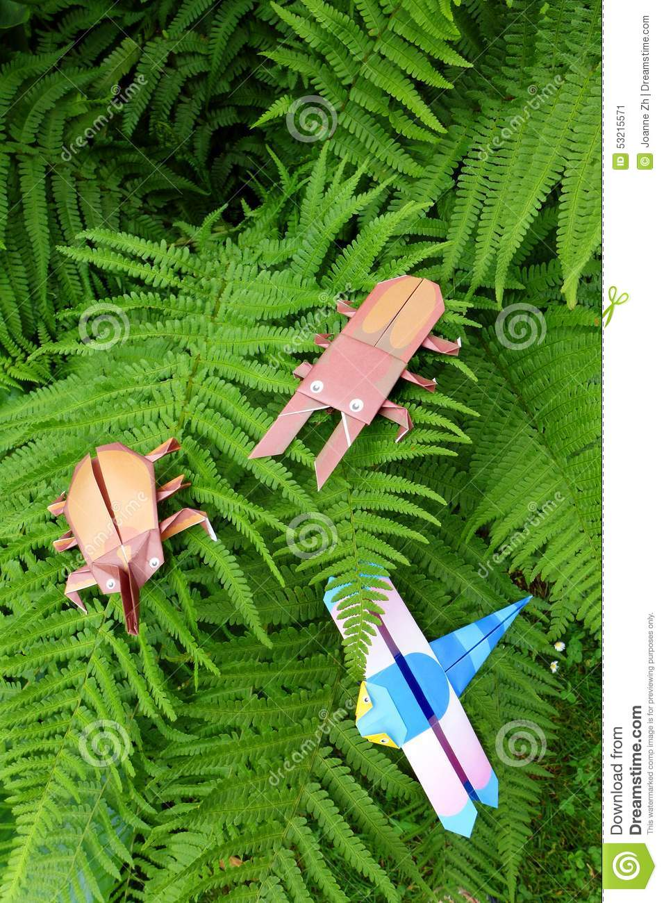 Origami Insects On Fern Leaves Stock Image Image Of Crafts