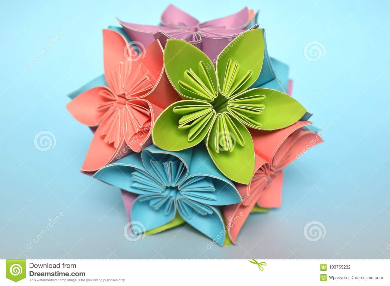 Origami kusudama flower ball stock photo image of module pink download comp mightylinksfo