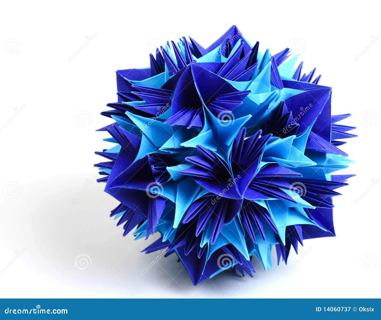 Colorfull origami unit snowflake isolated on white background.