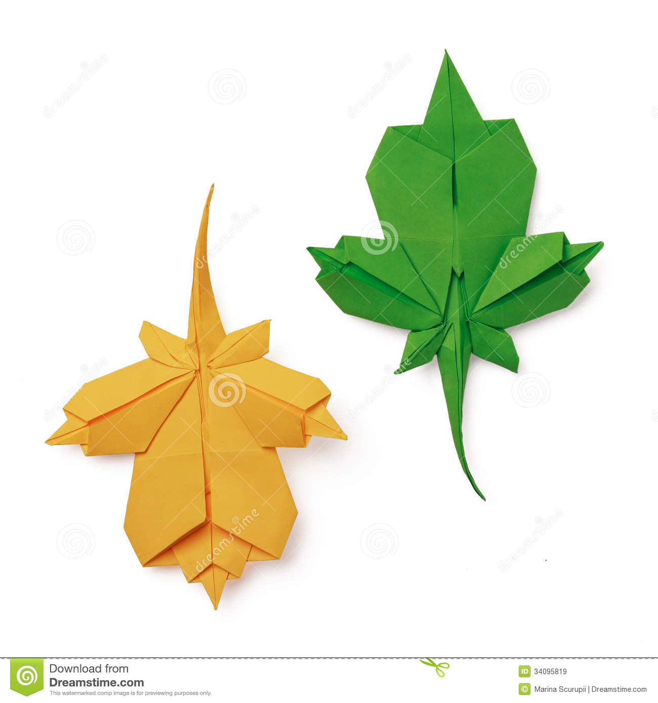 origami leaves royalty free stock images image 34095819