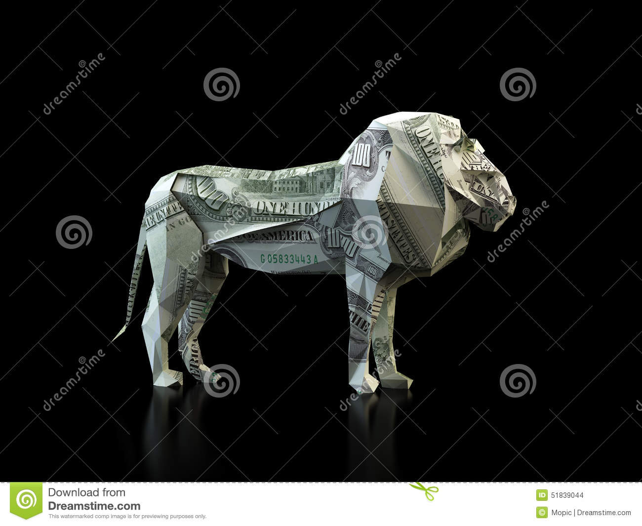 Origami Lion Made Out Of A Dollar Bill Stock Illustration