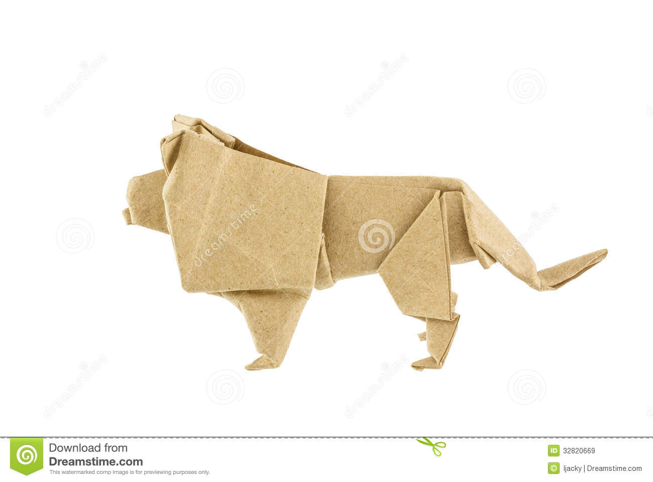 Download Origami Lion Recycle Paper Stock Image Of Concept