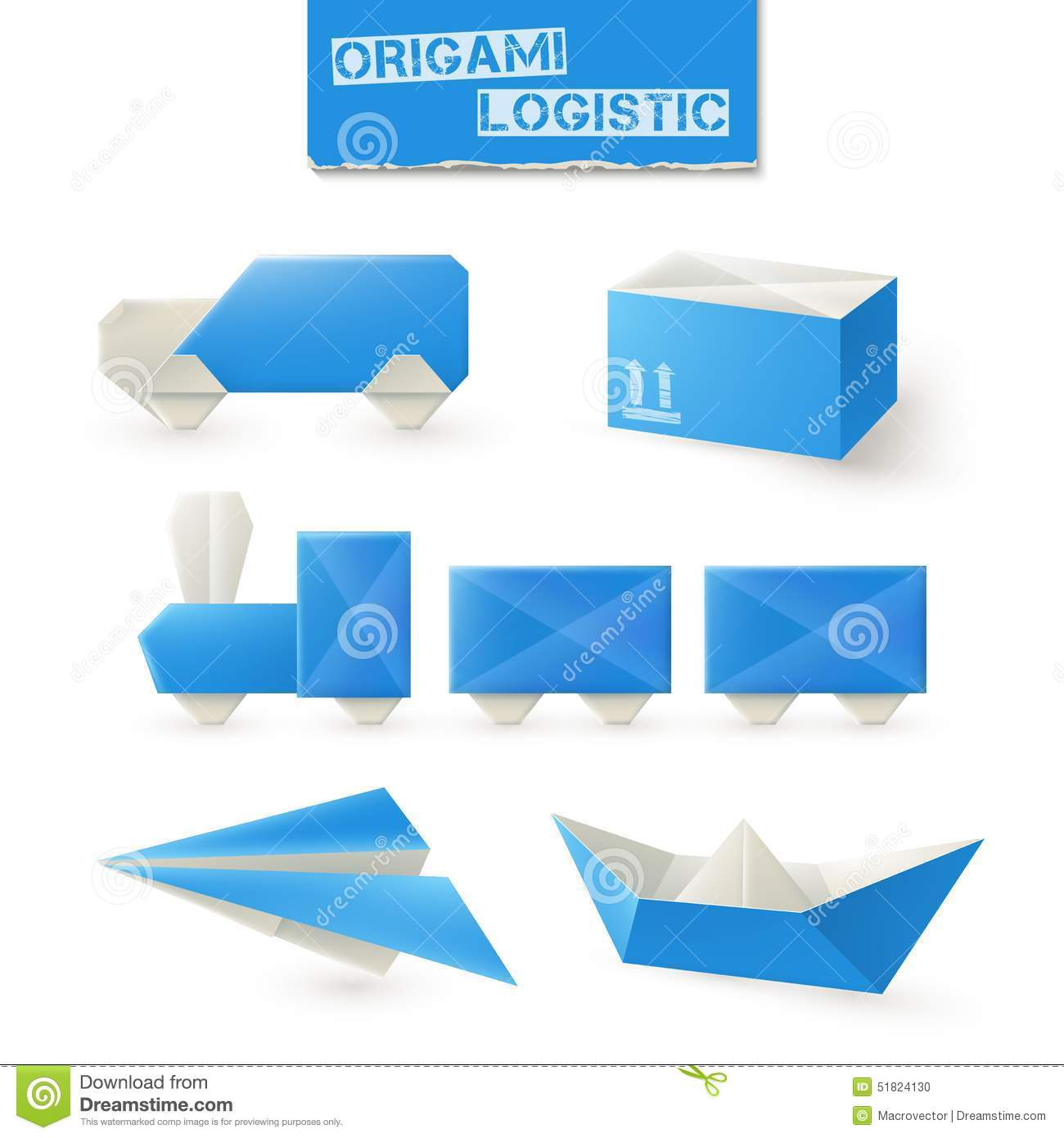 Origami Logistic Set Stock Vector Illustration Of Design 51824130
