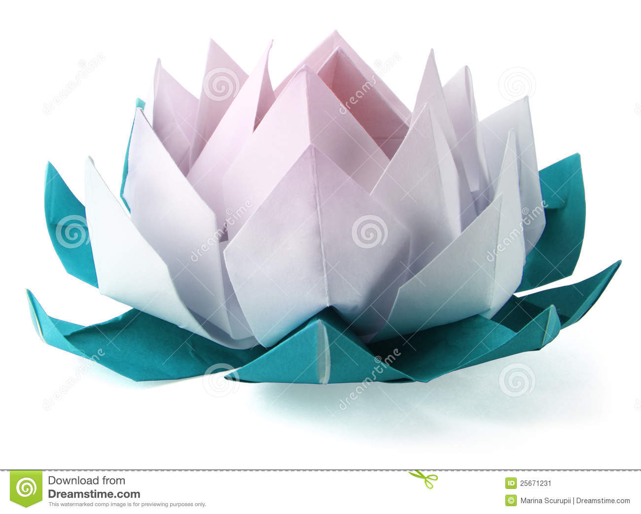 Origami Lotus On A White Background Stock Image