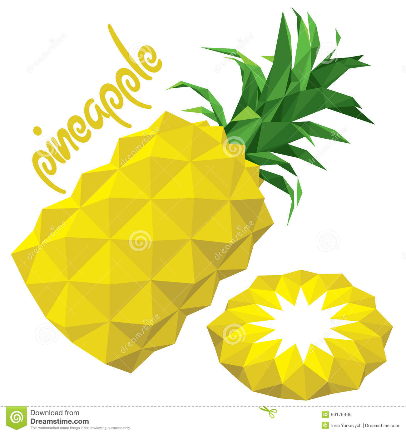 Origami Low Poly Pineapple Eps 10 Stock Vector Illustration