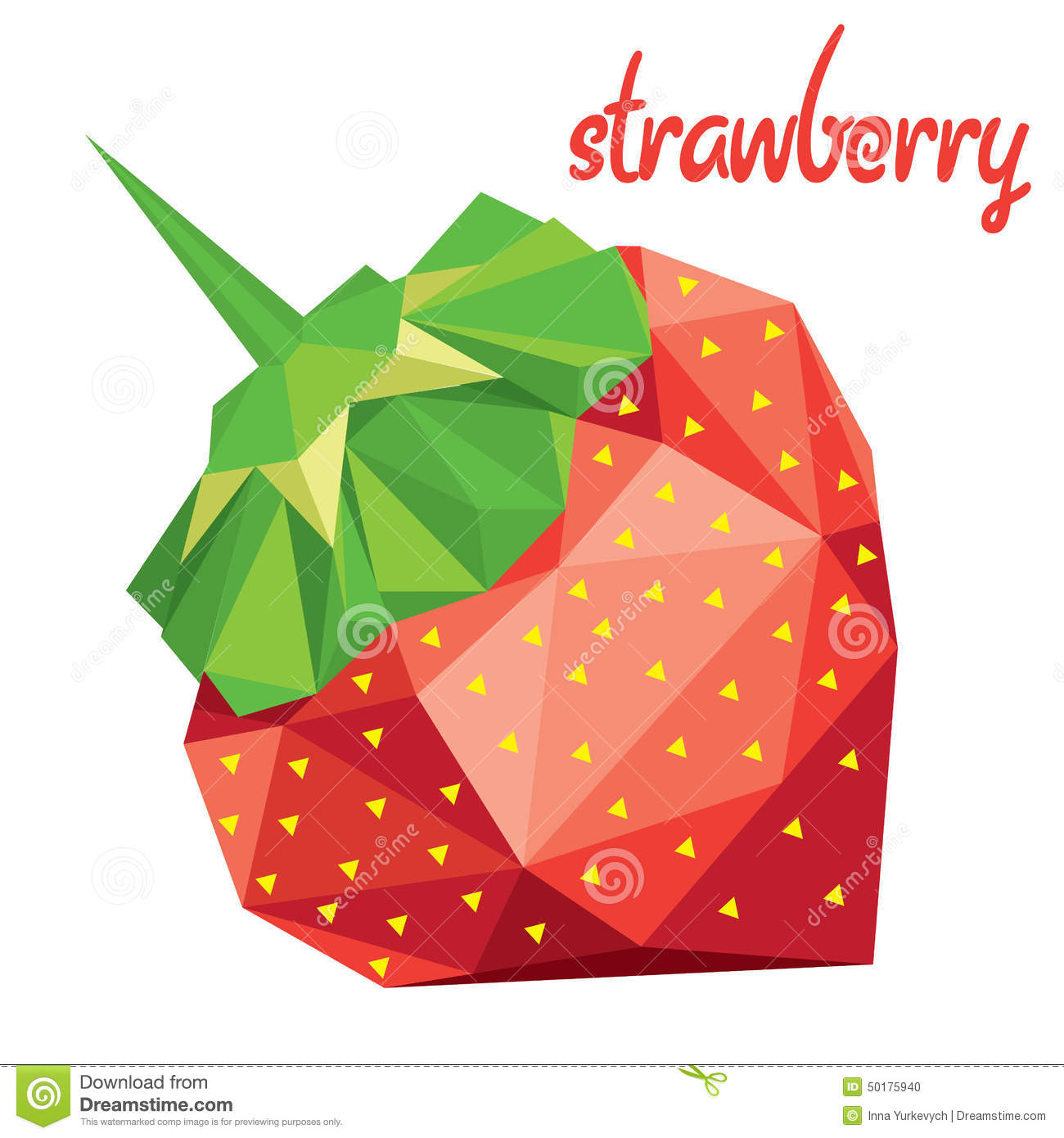 Download Origami Low Poly Strawberry EPS 10 Stock Vector