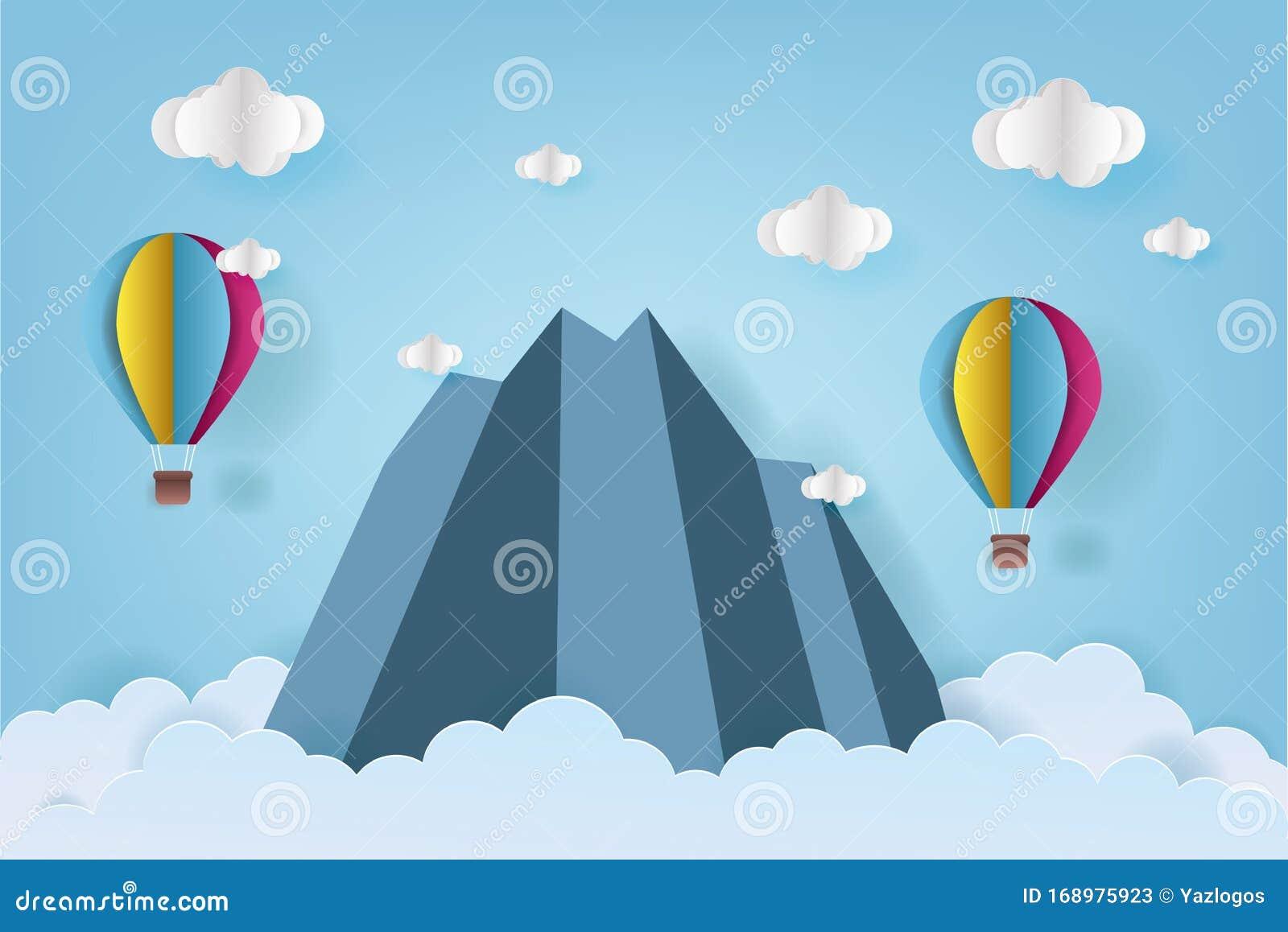 Colorful Origami Hot Air Balloon Flying Stock-Vektorgrafik ...   1157x1600