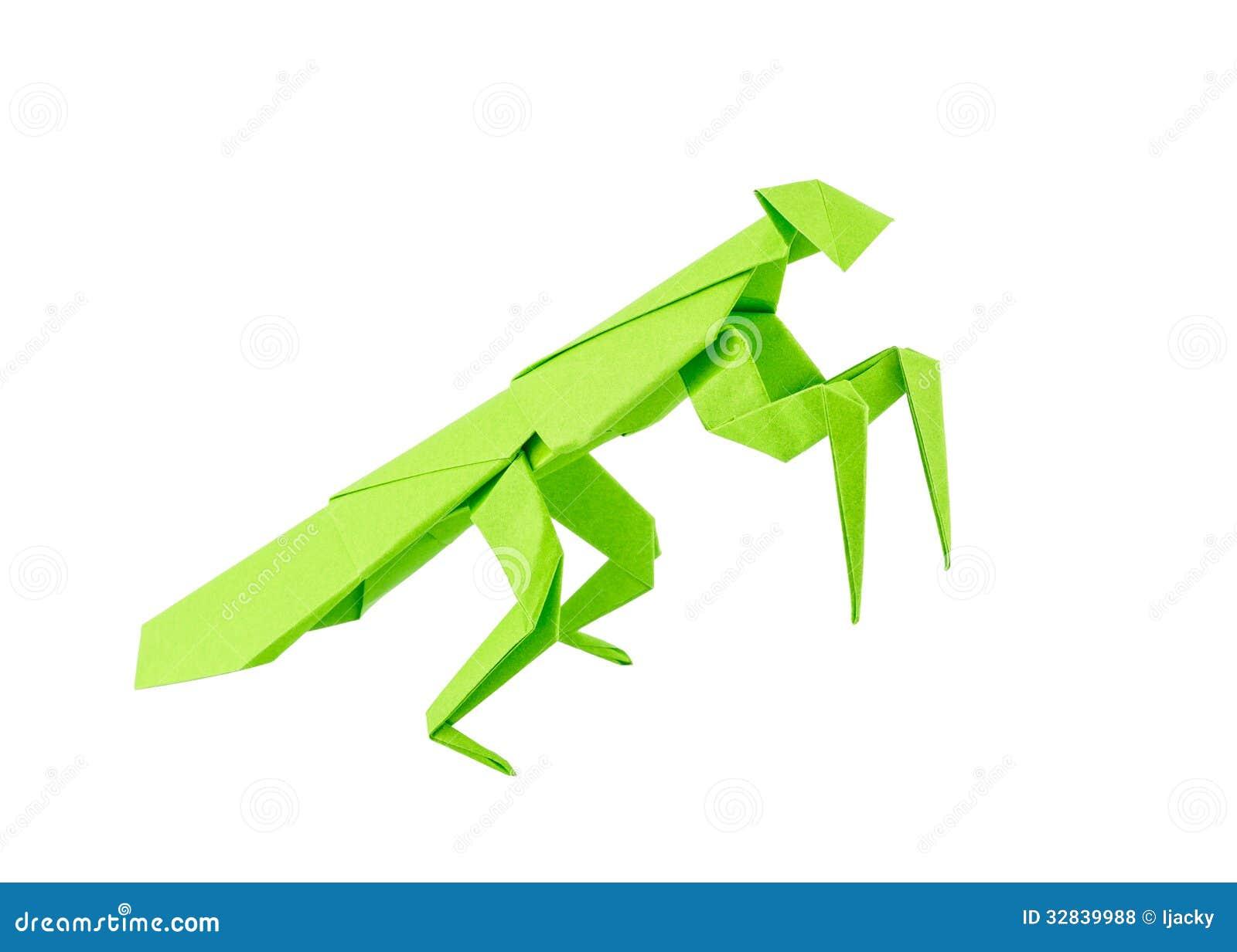 Origami Mantis Isolated On White Background Royalty Free Stock Photos