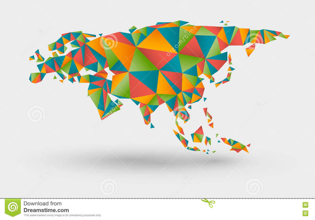 Origami Map Of Europe And Asia Stock Vector Illustration Of