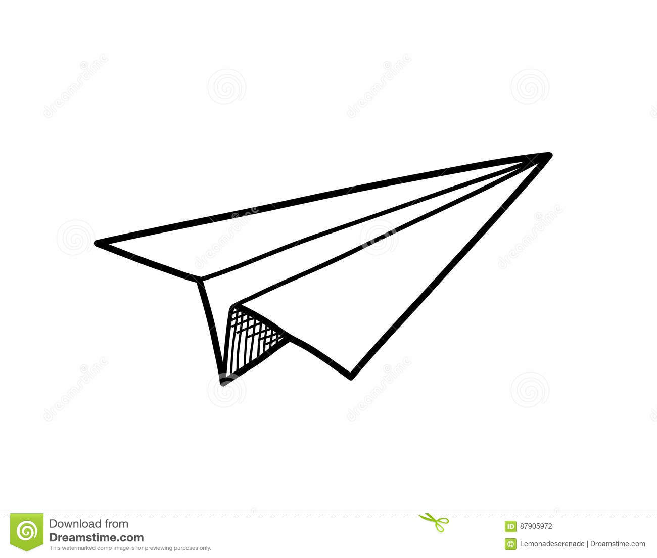 Origami Paper Airplane Doodle Stock Vector Illustration Of Paper
