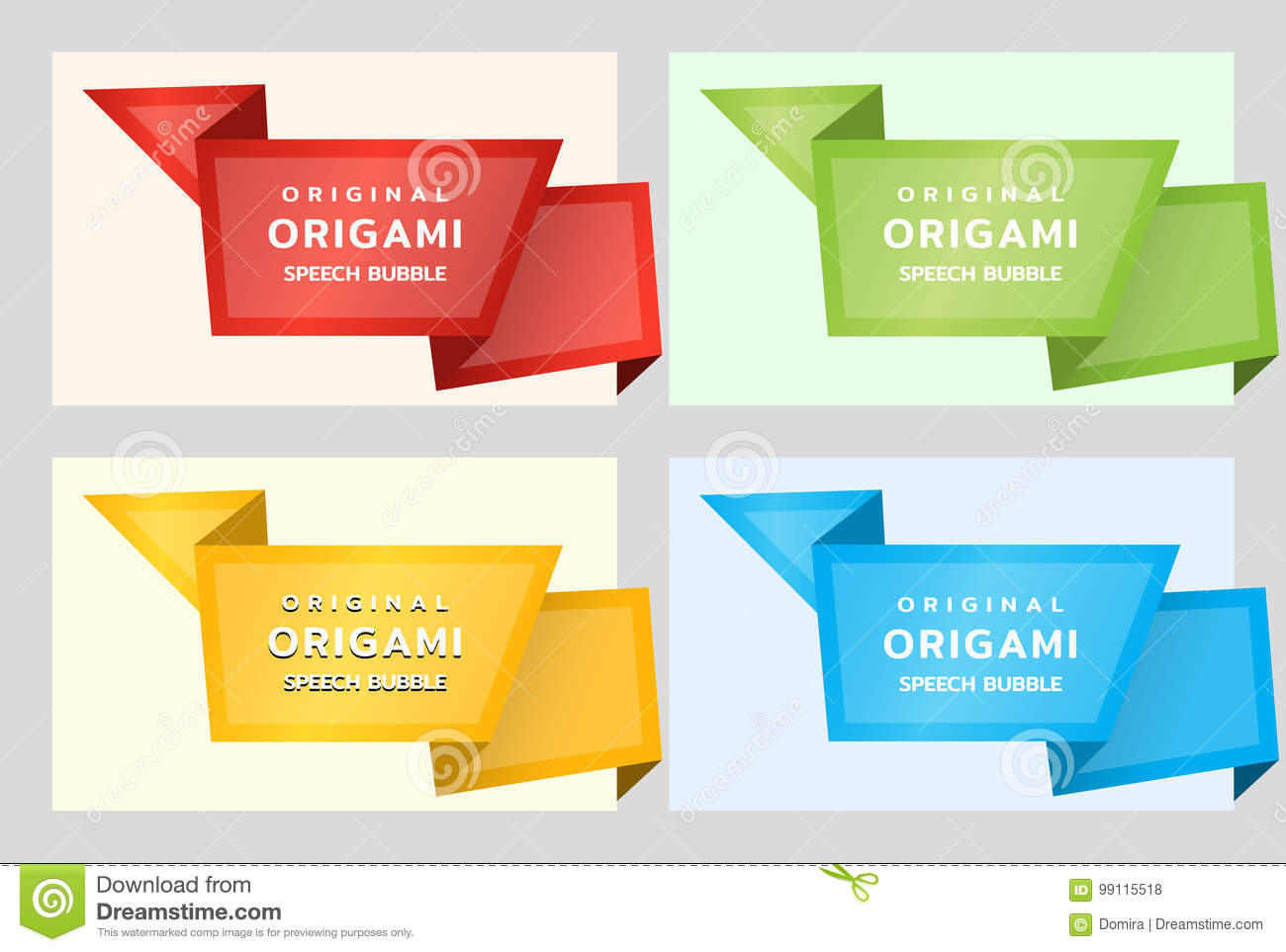 Origami paper banners for side. Price tag template for catalog. Color stickers. Vector