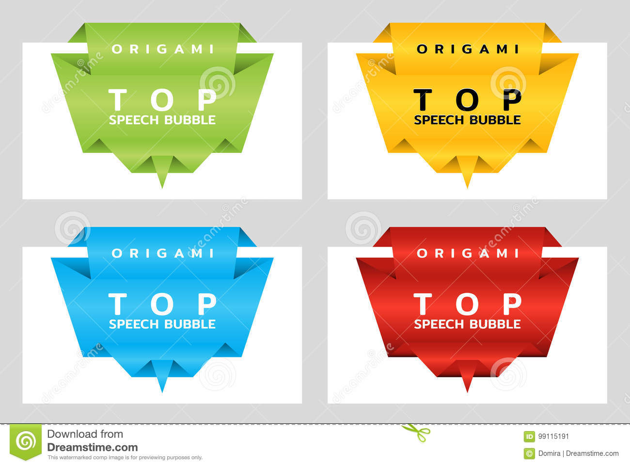 Origami paper banners for top. Price tag template for catalog. Color stickers. Vector