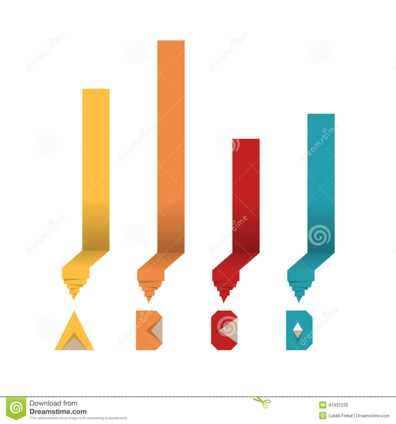 Origami paper bar graph diagram stock vector illustration of download comp ccuart Images