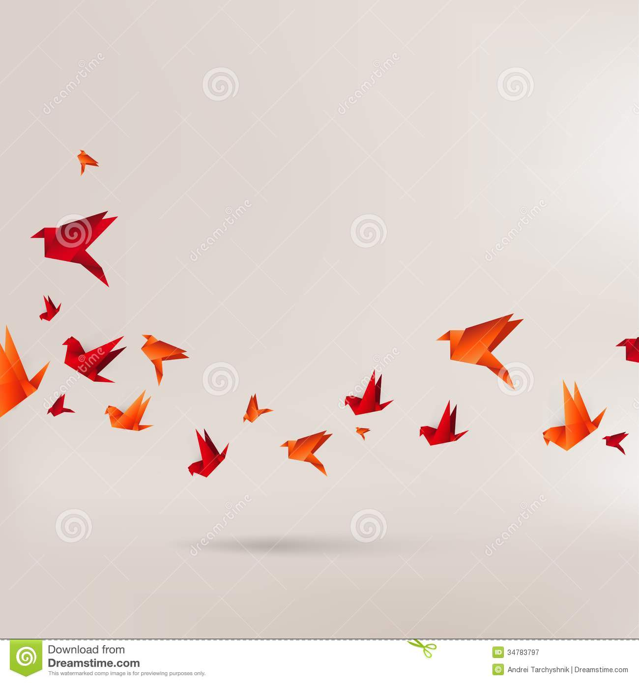 Origami Paper Bird On Abstract Background Stock