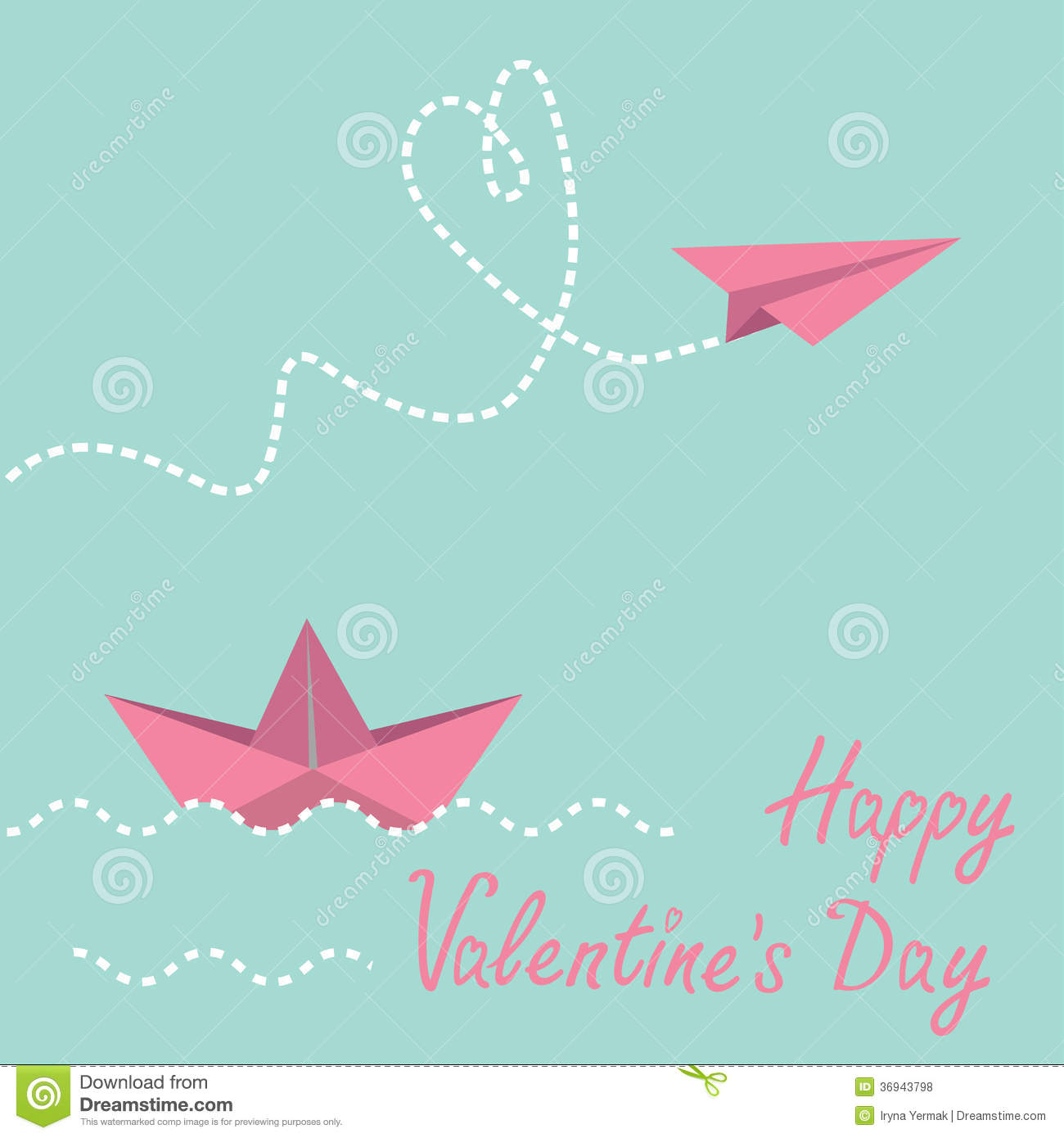 Origami Paper Boat And Paper Plane. Happy Valentin Stock ...
