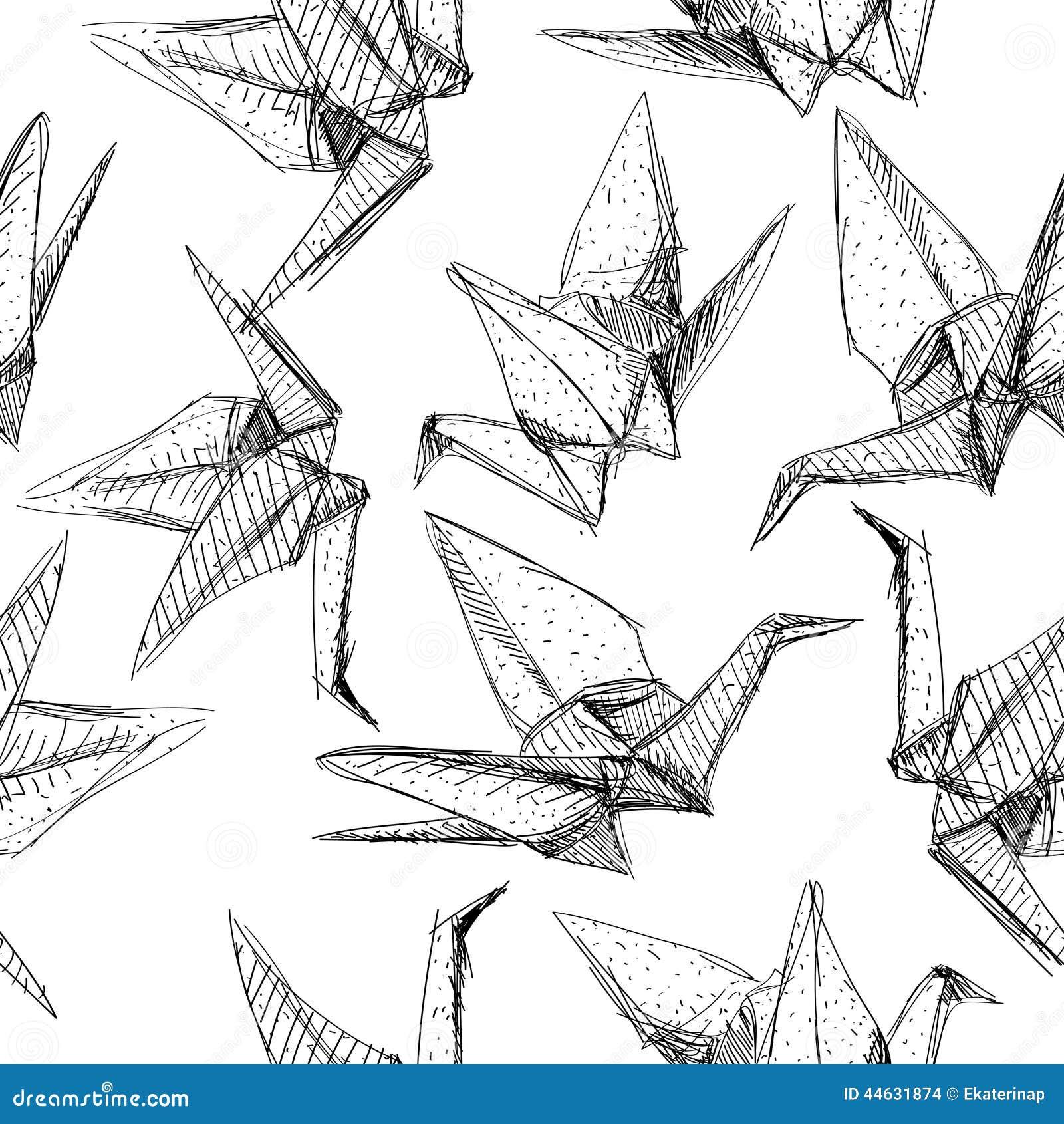 White Origami Paper Cranes