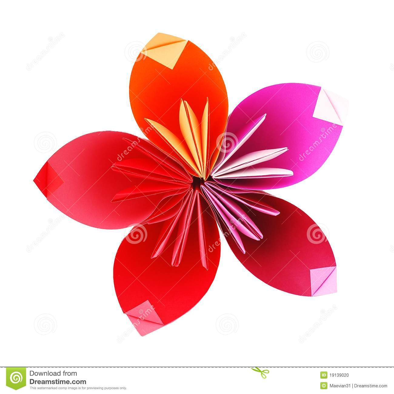 Origami Paper Flower Stock Photo Image Of Element Pink 19139020