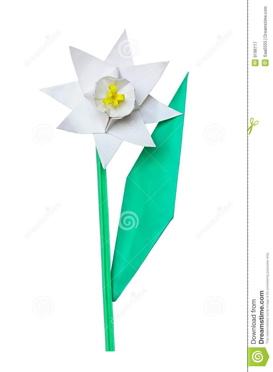Origami Paper Flower Stock Image Image Of Single Colored 9196117