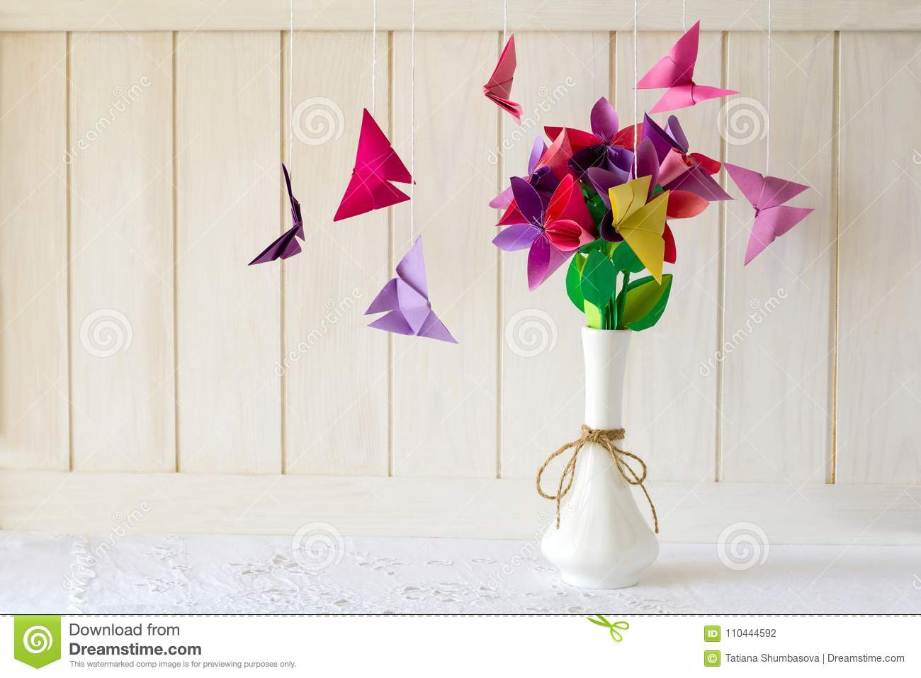 Dreamstime.com & Origami Paper Flowers In Vase And Butterflies On White ...